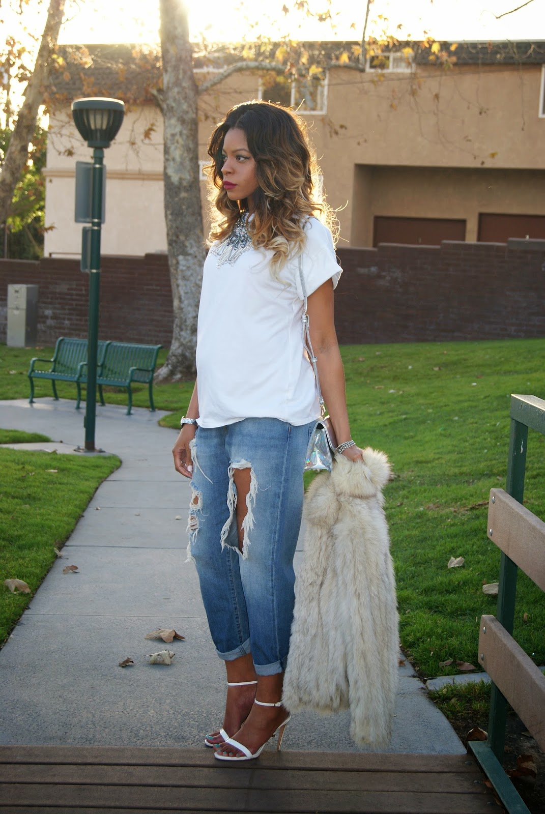 maternity style, casual chic, fur, ombre hair, statement necklace, allthingsslim,