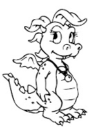 Little dragon coloring page