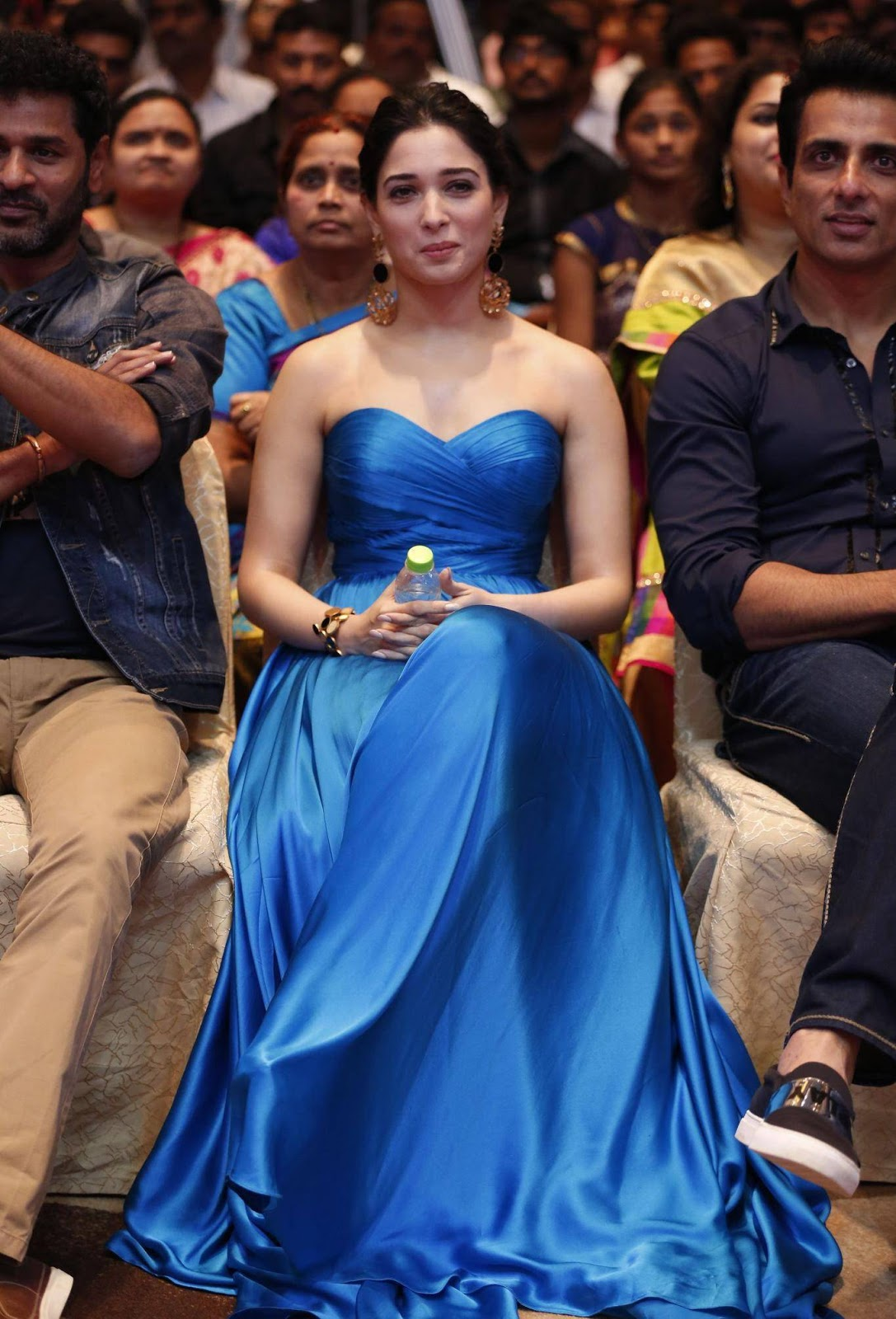 Kollywood Actress Tamanna Spicy Sizzling In Blue Gown At Movie Audio Launch