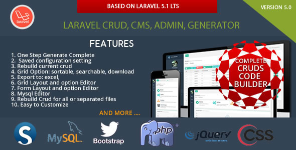 Laravel CRUD - CMS - Sximo 5 LTS | Download Free Premium