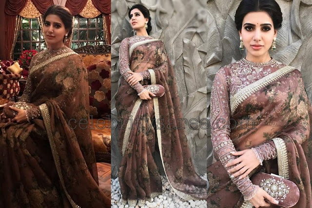 Samantha in Sabyasachi Sari at Akhil Engagement