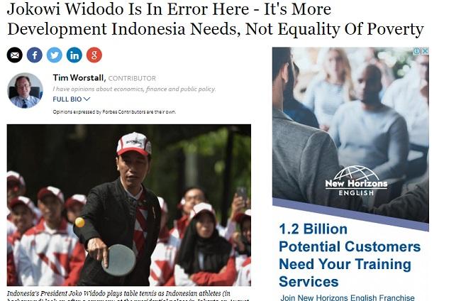 Jokowi disebut error oleh Majalah Forbes karena memberikan analisa yang salah terkait masalah ekonomi Indonesia.