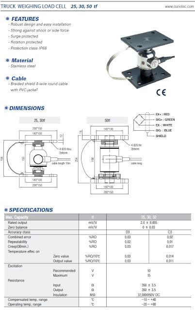 thông số cảm biến tải CWBK 25 tấn, 30 tấn, 50 tấn Korea