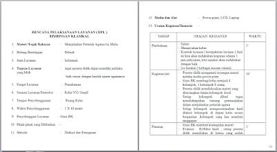 Contoh RPL BK Bimbingan Klasikal SMP/MTs Kurikulum 2013