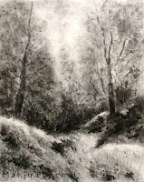 Original charcoal and acrylic painting of landscape from Narkanda by Manju Panchal