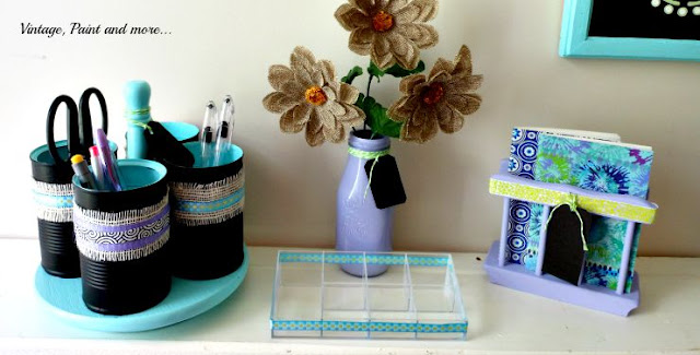 Vintage, Paint and more... DIY desk organizer from tincans and a condiment lazy Susan\