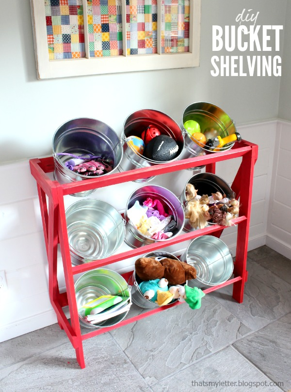 diy bucket shelving