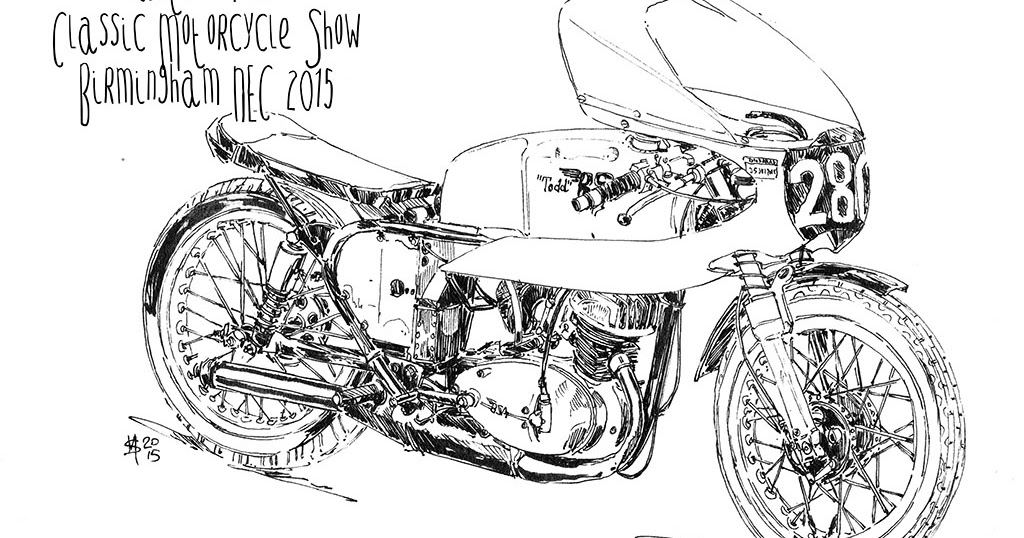 Martin Squires Automotive Illustration: Classic Motorcycle