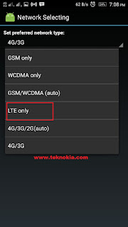 "Choose your preferred Network ""LTE Only"" or you can use the Dual mode 4G / 3G."