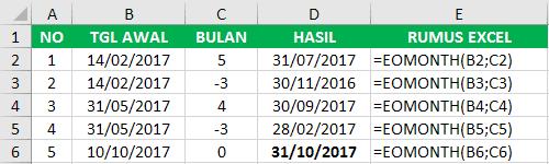 Contoh Fungsi Excel EMONTH