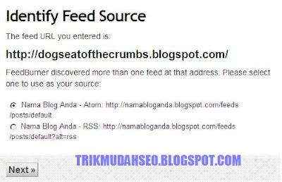 Memilih feed blog untuk feedburner