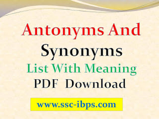Antonyms And Synonyms List With Meaning PDF Download