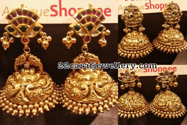 Heavy Jhumkas by Jewels India antique Shoppee