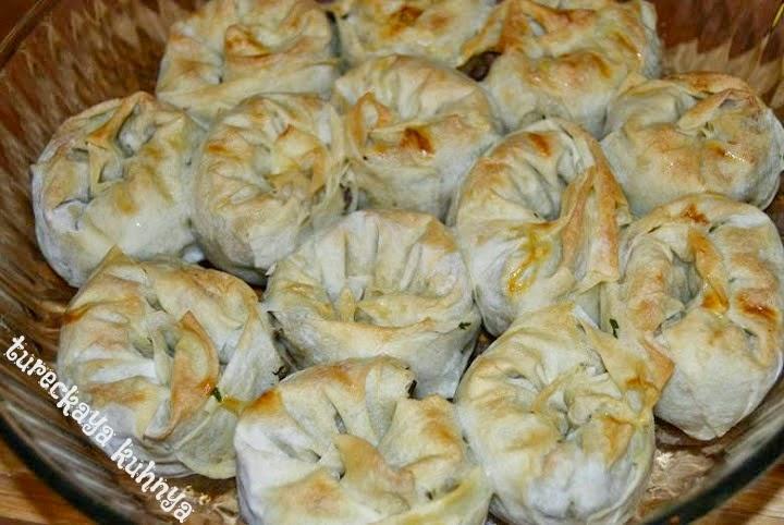турецкие пирожки-улитки превращаем в манты
