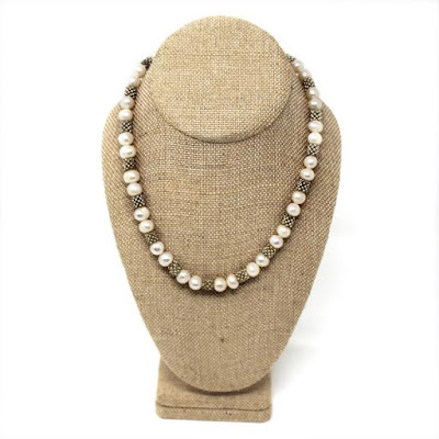 The 100% Organic Hemp Linen Covered Necklace Display Bust is ideal for beach-inspired necklaces | NileCorp.com