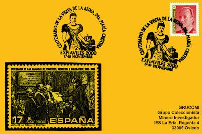 Tarjeta del matasellos de EXFIAVILÉS 2000 con motivo del centenario de la visita de la Reina María Cristina