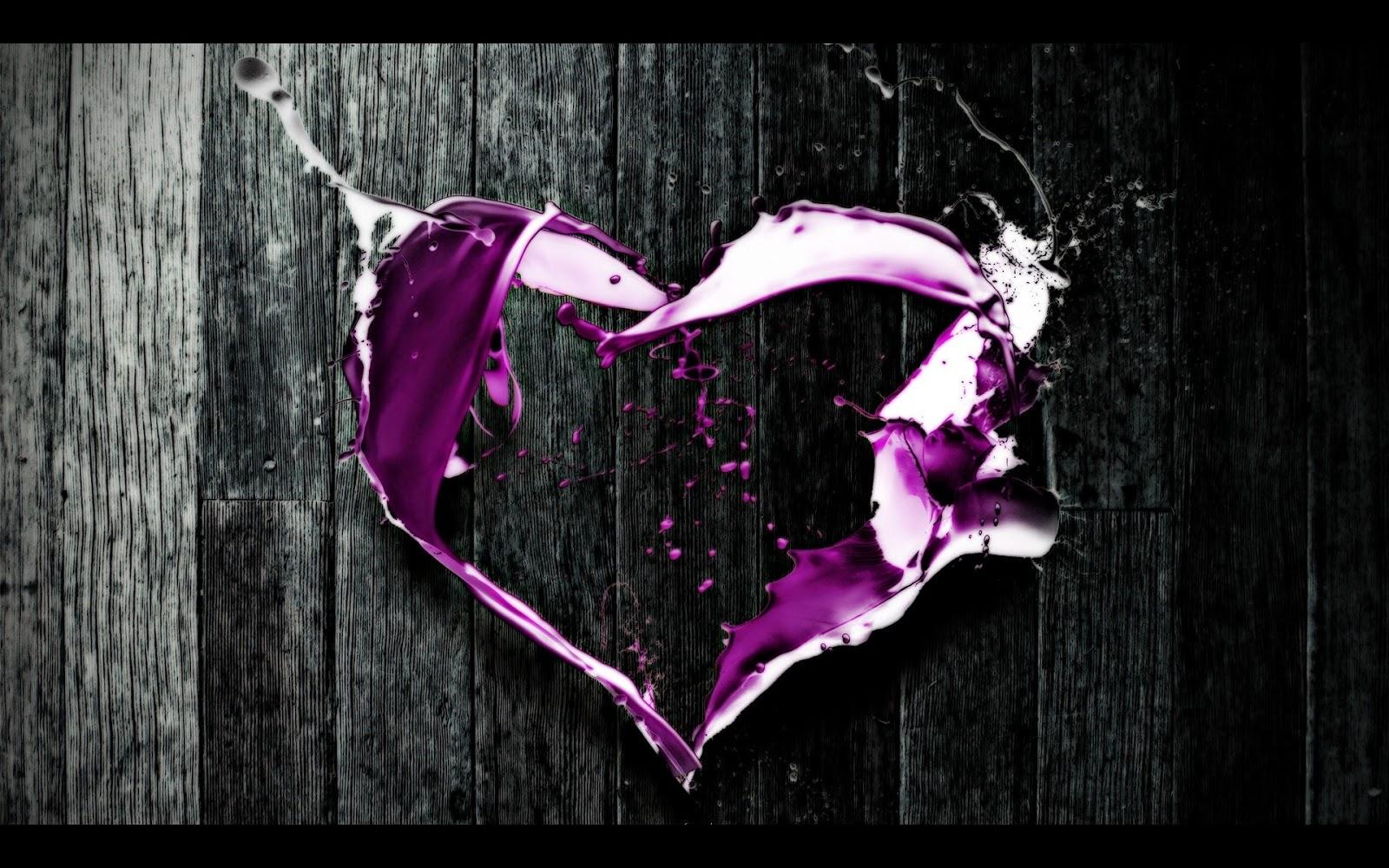 Purple Love Wallpaper: Purple Heart Abstract Art HD Wallpaper