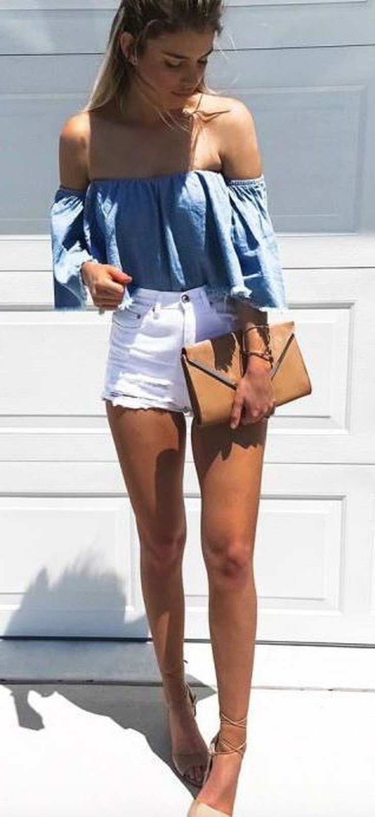 how to style white shorts : blue off shoulder top + espadrilles