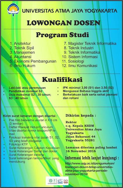 Lowongan Kerja Dosen Universitas Atma Jaya Yogyakarta November 2016