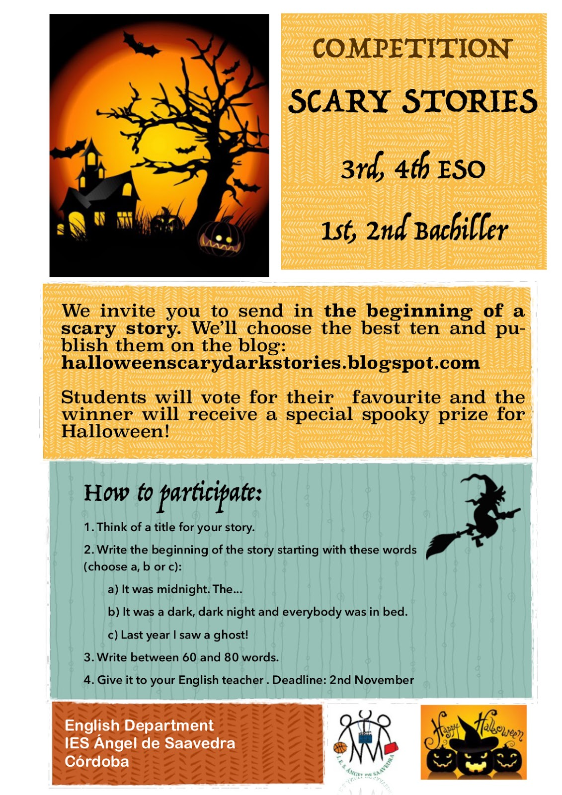 blog de pilar torres halloween activities and competition scary se propone una scary stories competition para 3ordm 4ordm eso y bachillerato y una halloween costumes competition para 1 y 2ordm eso