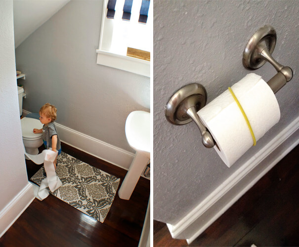 18 Hilarious Hacks Prove That Some Parents Are Geniuses - How To Keep Toilet Paper In Place