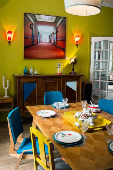 lime green and blue dining room