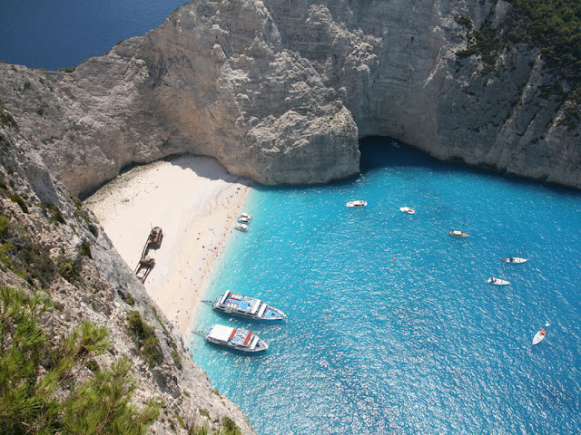 Shipwreck Cove beach from above, Zakynthos, Zante