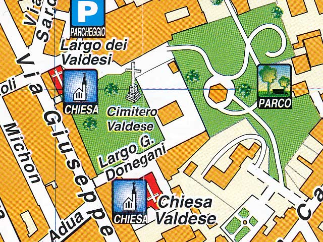 Waldensian church and cemetery on a map, Livorno