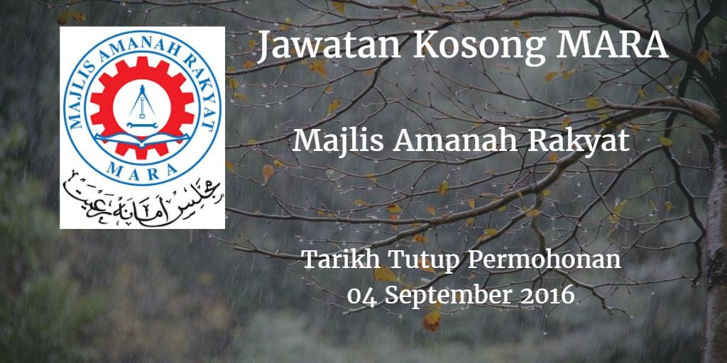 Jawatan Kosong MARA 04 September 2016
