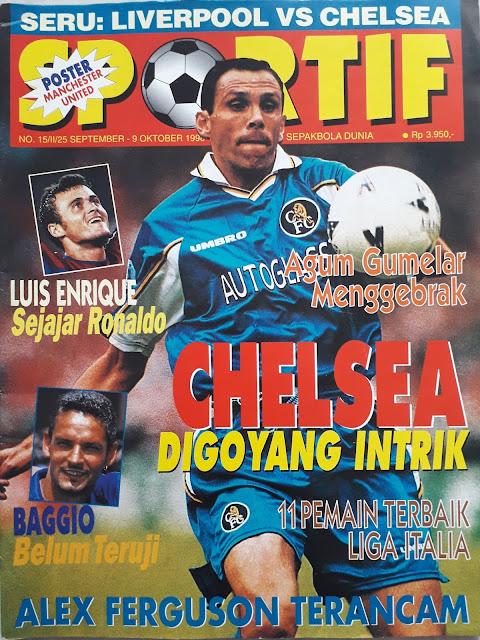 GUSTAVO POYET OF CHELSEA SOCCER MAGAZINE COVER