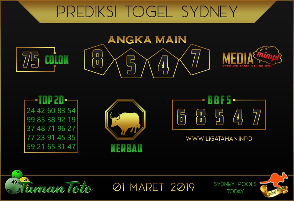 Prediksi Togel SYDNEY TAMAN TOTO 01 MARET 2019