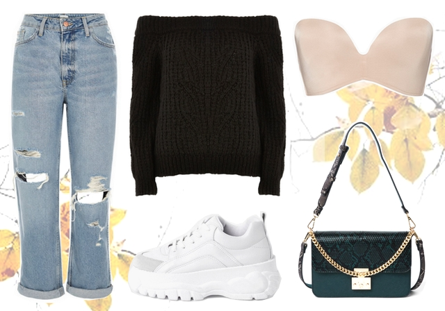 Want to wear: outfit met off shoulder trui en witte chunky sneakers River Island strapless wonderbra nude bh
