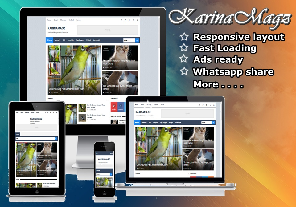 KARINAMAGZ Fast and Responsive Blogger Template 2017