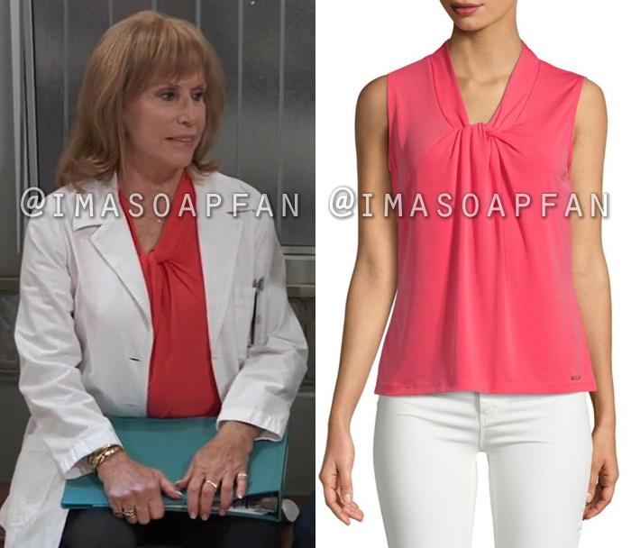 Monica Quartermaine, Leslie Charleson, Pink Twist Neckline Top, General Hospital, GH
