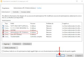 Registro di Windows - Cambiare autorizzazioni 4