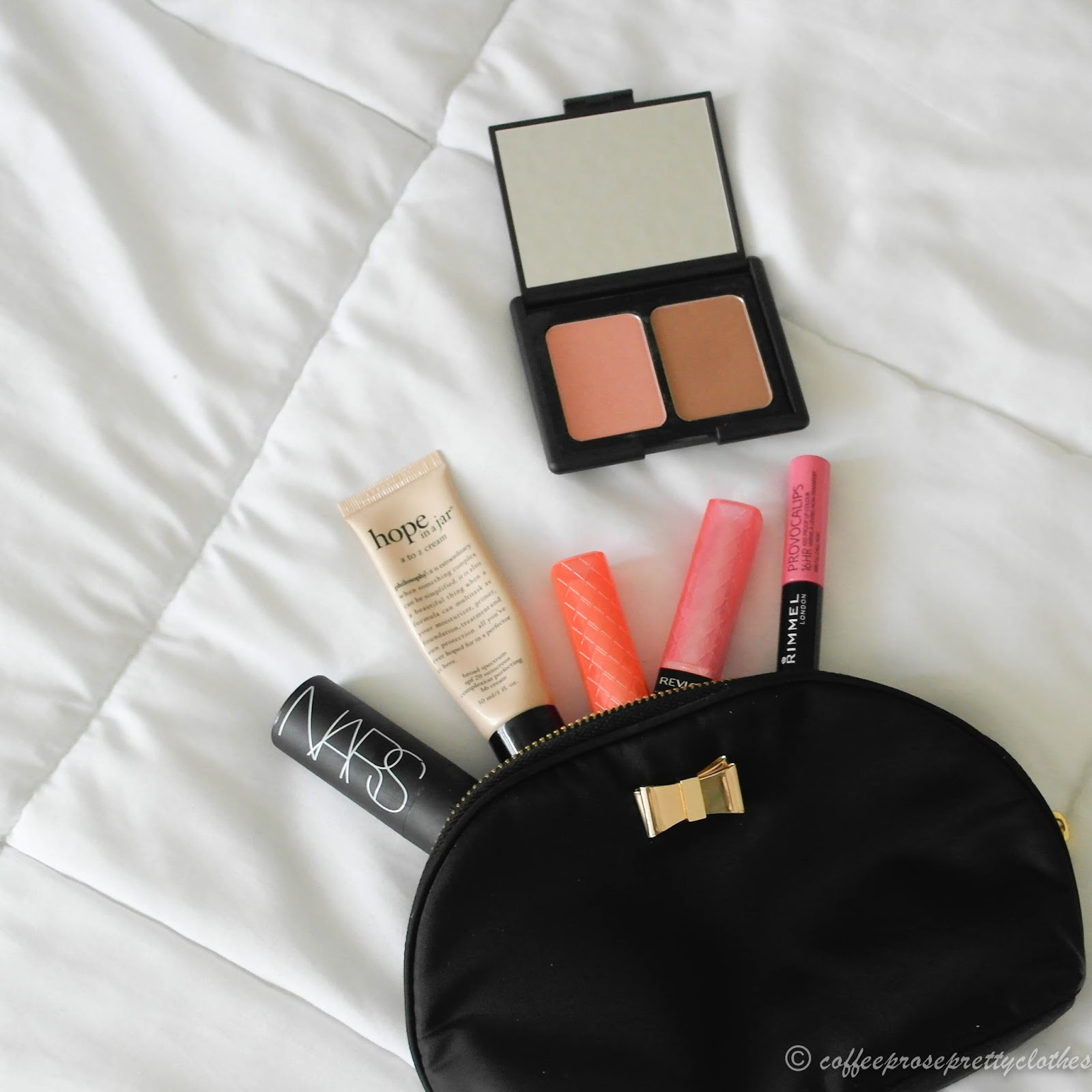 Philosophy A-Z Cream, Revlon Lip Butter, ELF contour palette