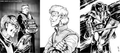 3 illustrationer från DARC AGES - De Mörka Tidevarven