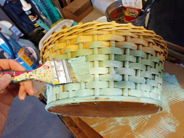 use a brush to blend three colors together to update a thrift store basket