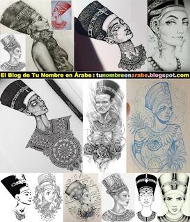 Diseños de Tatuajes de Nefertiti