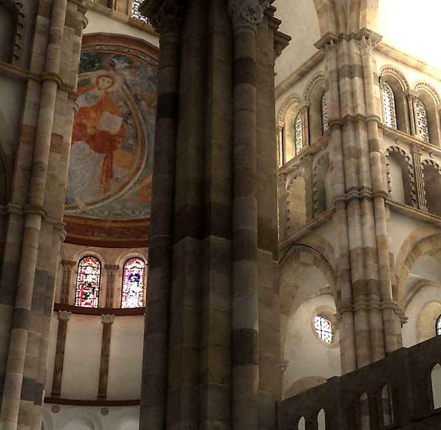 Ábside da igreja principal de Cluny, segundo reconstituição digital