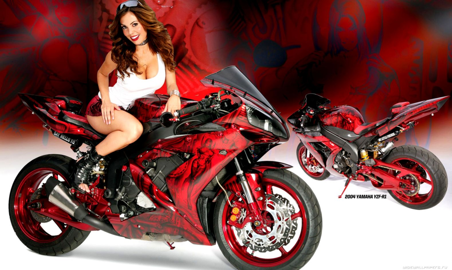 Yamaha R1 Bikes Girls Motorcycle Wallpaper Room Wallpapers