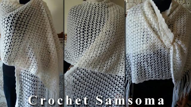 كروشيه شال . كروشيه كوفية . كروشيه سكارف  . كروشيه شال مستطيل .  .  crochet scarf .  Crochet shawl
