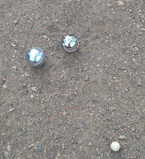 Playing Petanque in Edgeley, Stockport.