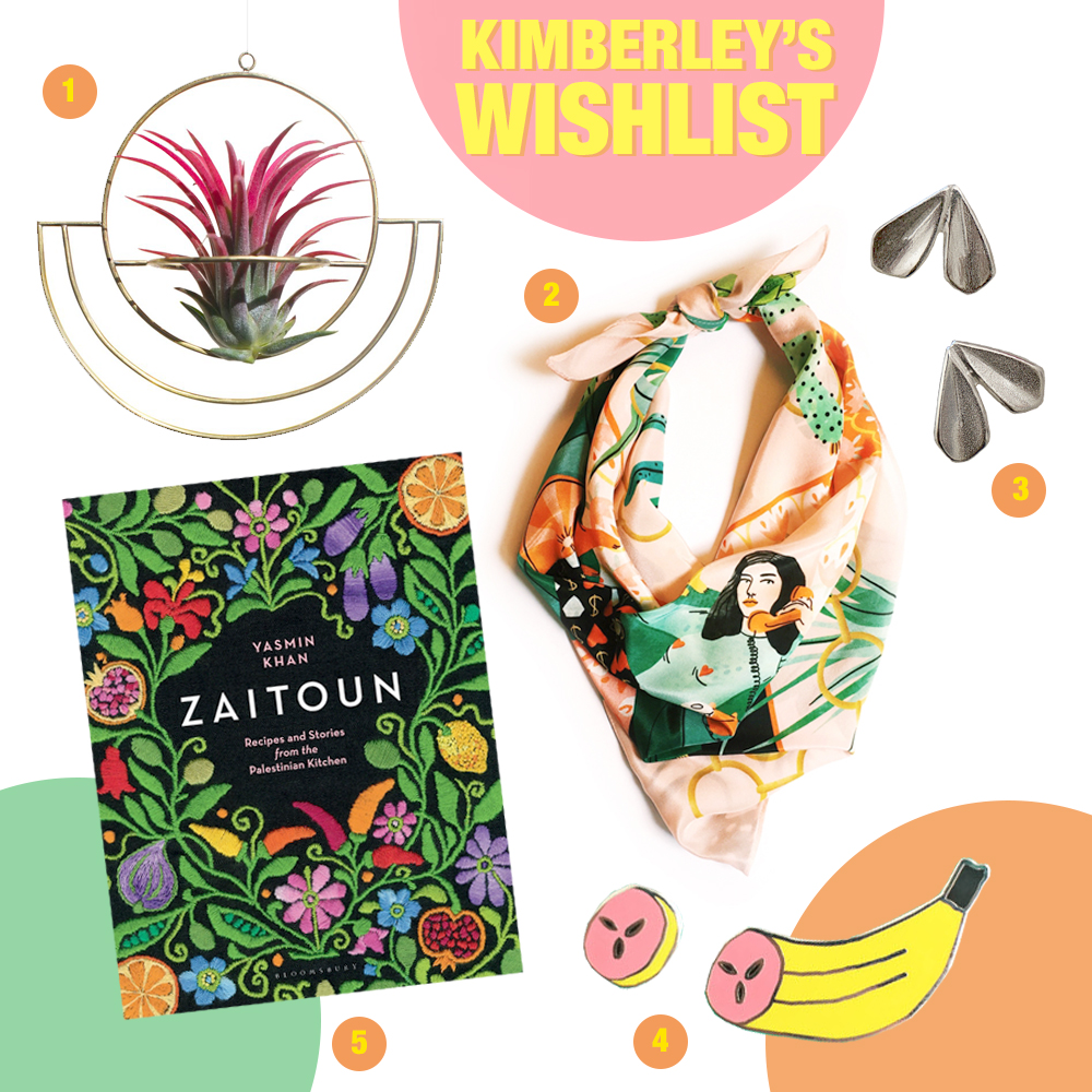 Summer wishlist from blogger Kimberley of Wardrobe Conversations featurin a hanging planter from Lima Lima, printed silk scarf by Bodil Jane, silver earrings by Holly Mcafee, banana pin by We Are Out Of Office and cookbook from Yasmin Khan