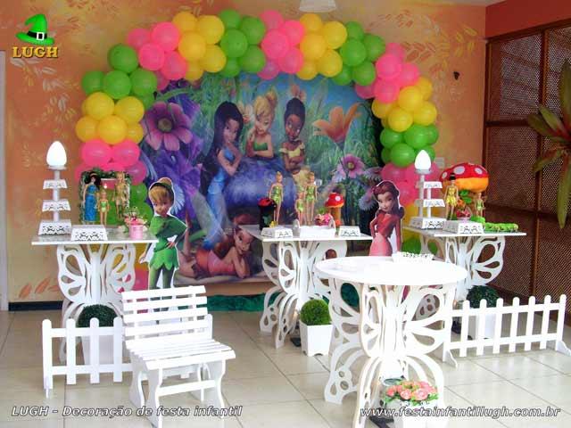 Provençal simples em mesas borboletas - Decoração tema infantil Tinker Bell - Aniversário feminino