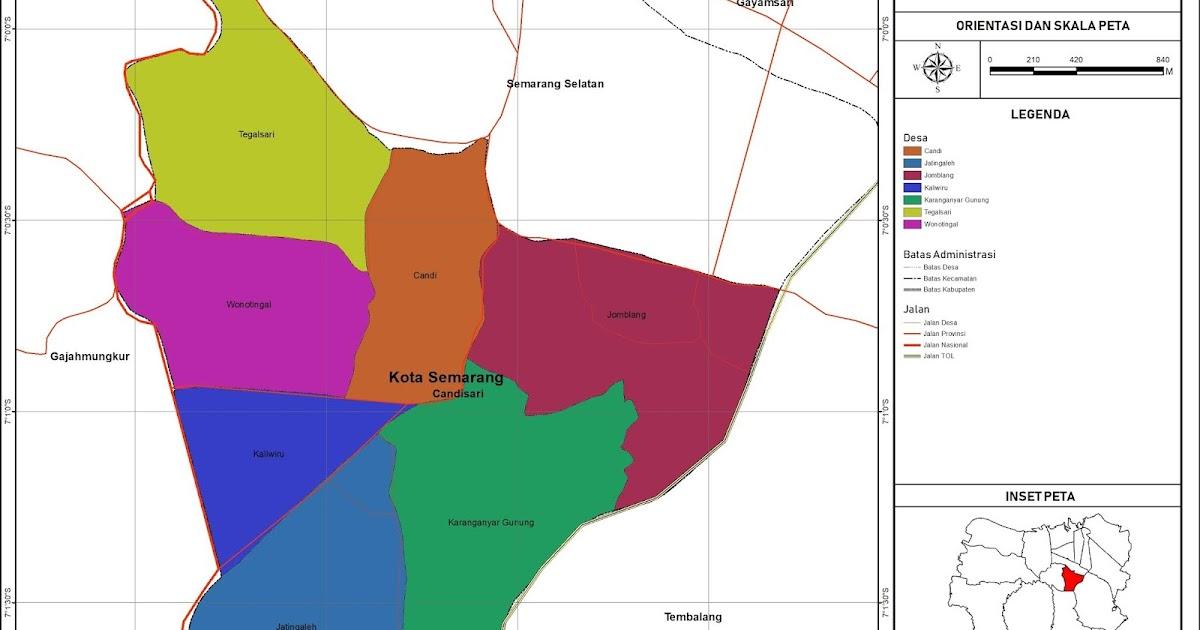 Peta Administrasi Kecamatan Candisari, Kota Semarang ...