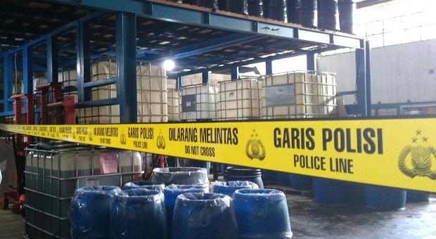 Pabrik PT Hybrid Chemical Dipasangi Garis Polisi