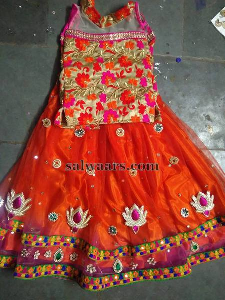Orange Velvet Floral Lehenga for Kids