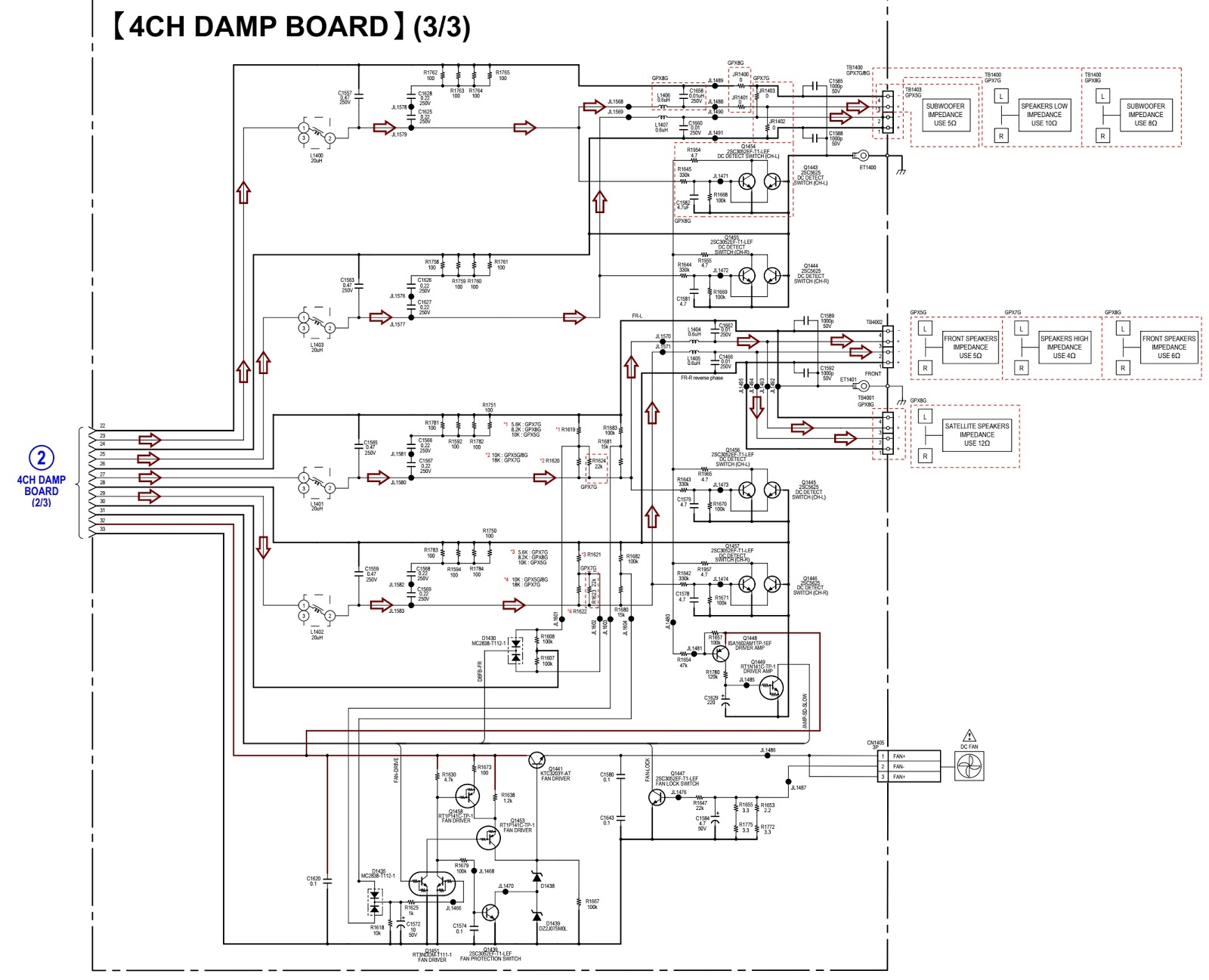 Sony HCD GPX5G – 4-ch D-Amp circuit diagram, how to take disc out in