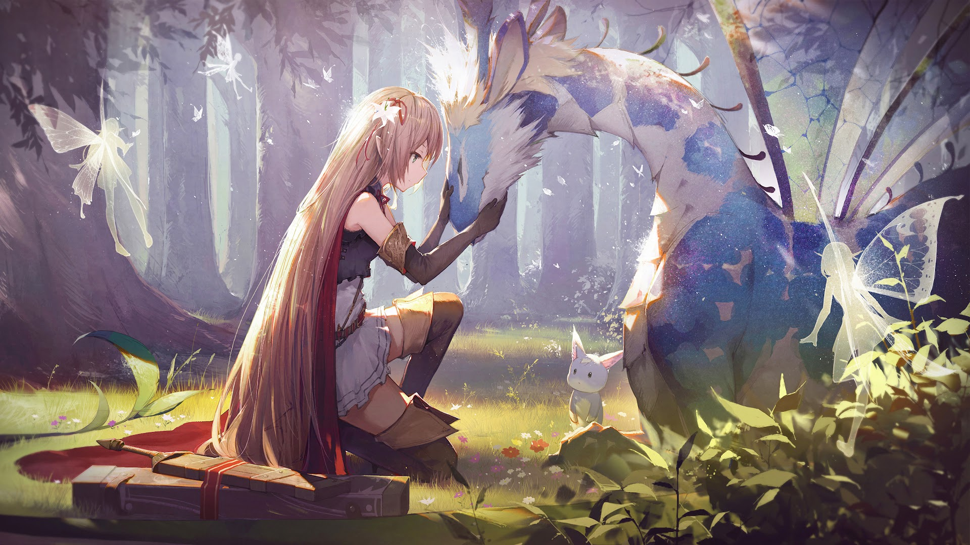 Anime Girl Fantasy Creatures 4k Wallpaper 73